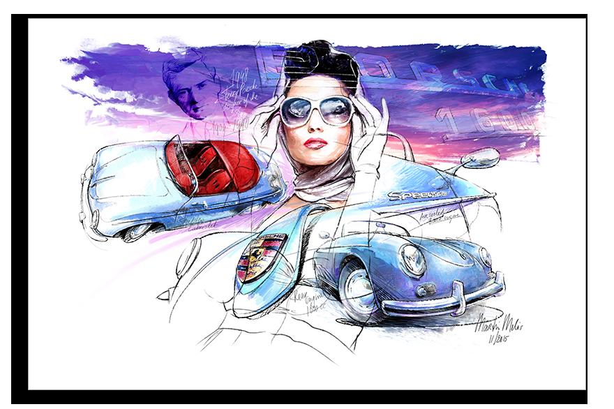 Porsche 356 Speedster 1948 Classic Car Art