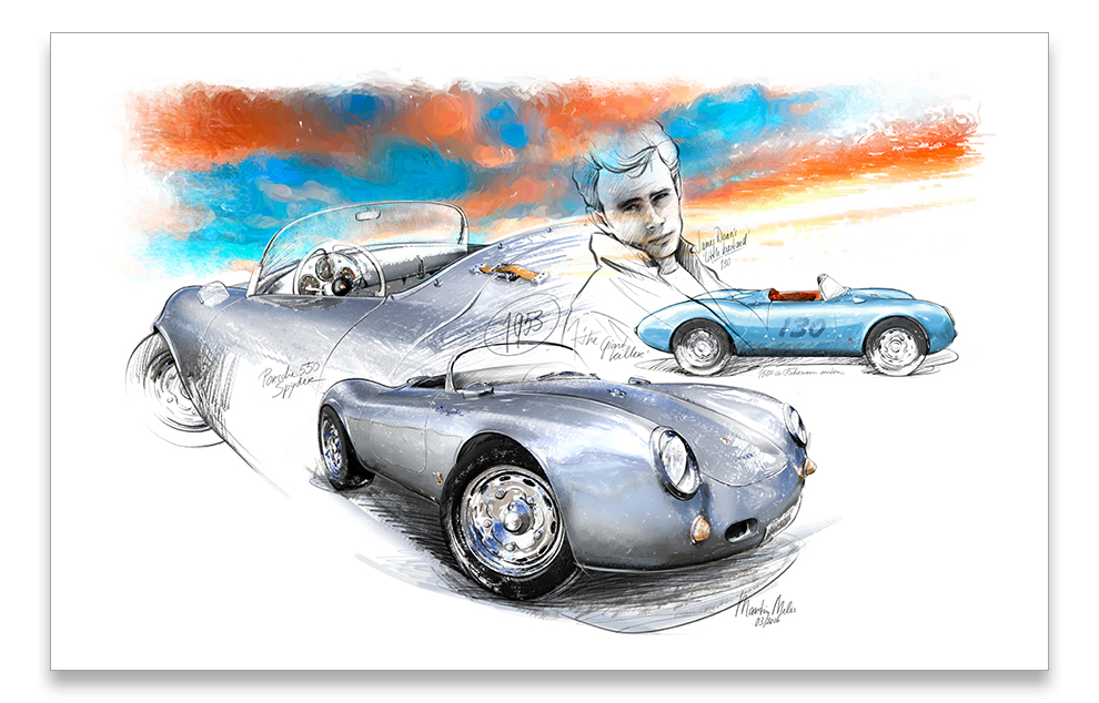 Porsche 550 Spyder 1953 Classic Car Art
