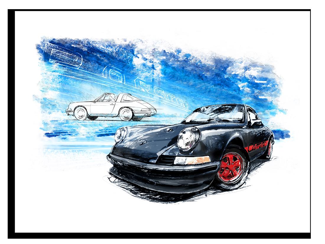 Porsche 911 Carrera Black 1961 80 X 60 Cm Classic Car Art
