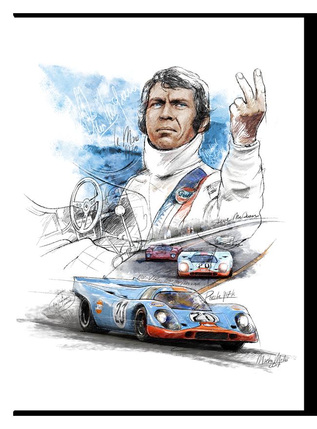 Porsche 917 K Steve Mcqueen Le Mans 1970 Classic Car Art